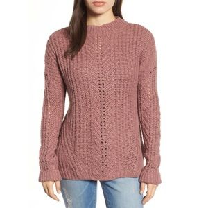 Lucky Brand Open Stitch sweater in dusty pink
